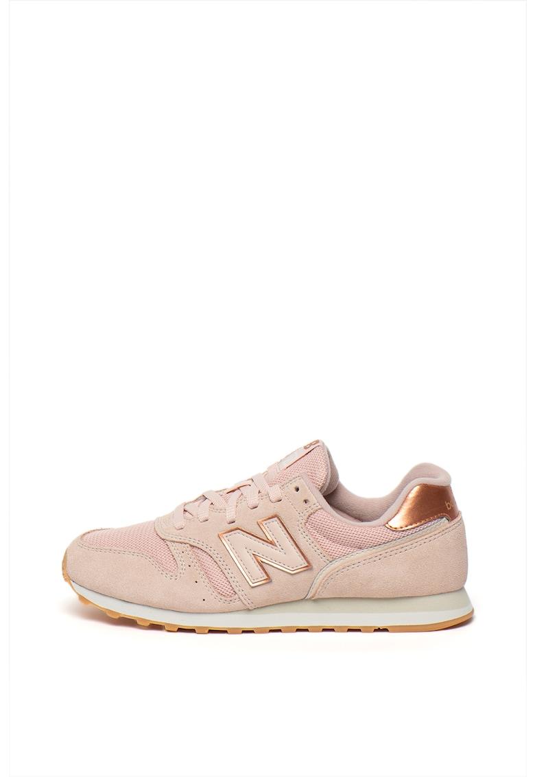Pantofi sport din material textil si piele intoarsa 373