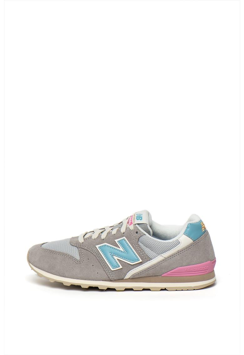 Pantofi sport cu model colorblock si garnituri de plasa si piele intoarsa 996 imagine