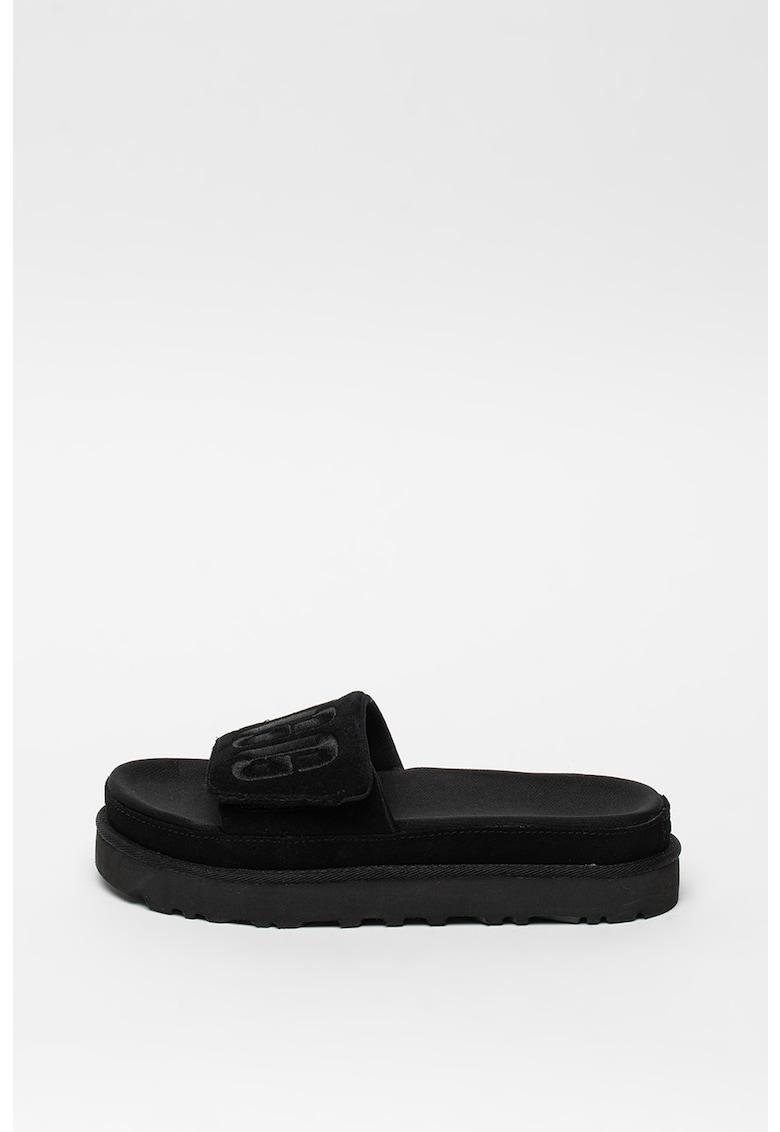 Papuci de piele cu model logo Laton