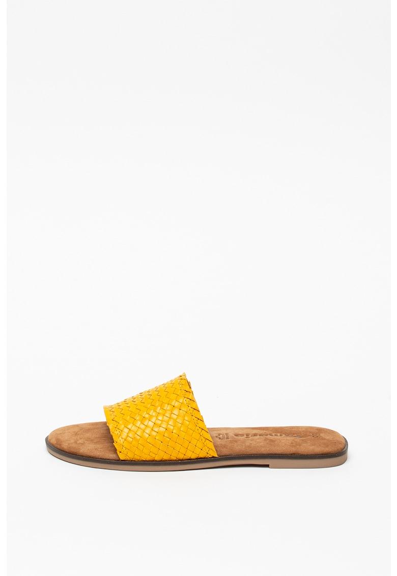 Papuci de piele cu aspect tesut imagine fashiondays.ro
