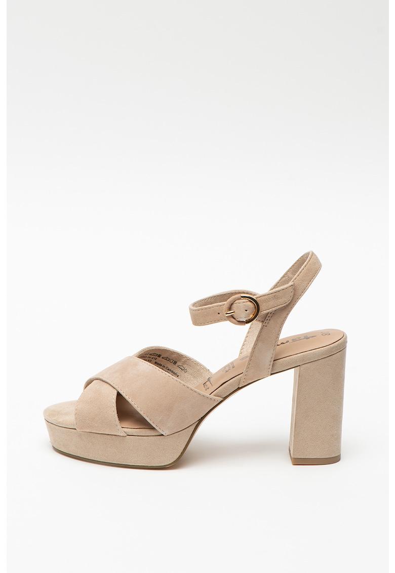 Sandale de piele nabuc cu toc masiv