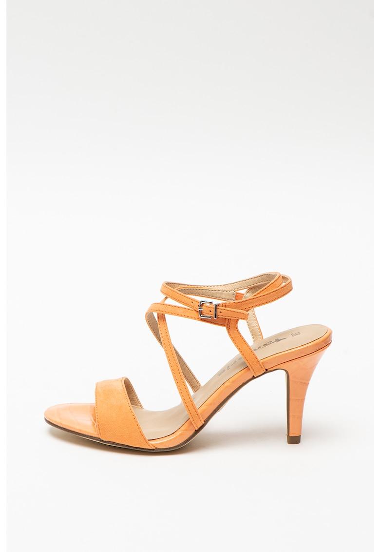 Sandale de piele intoarsa ecologica cu toc inalt