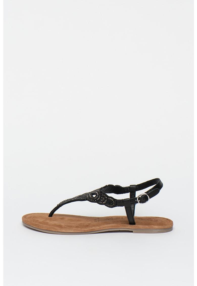 Sandale de piele cu bareta separatoare si margele