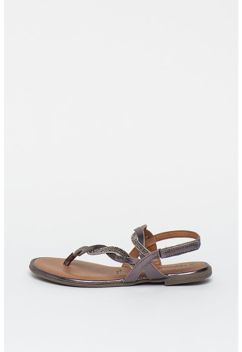 Sandale de piele cu bareta separatoare si aspect impletit
