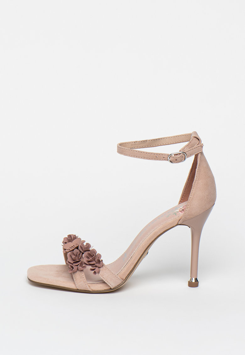 Sandale din piele cu aplicatii florale
