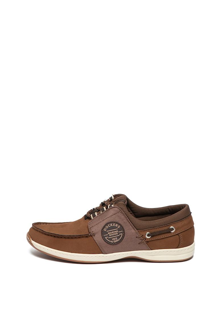 Pantofi loafer de piele nabuc cu insertii din material textil fashiondays.ro