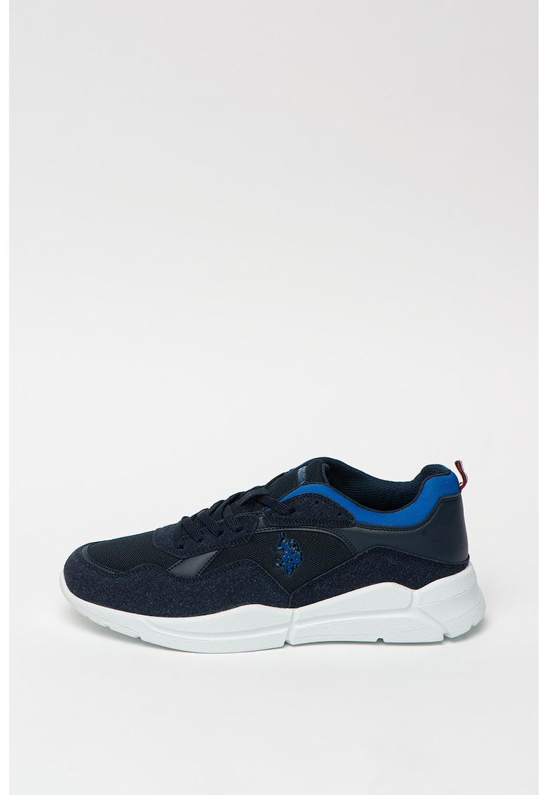 Pantofi sport cu garnituri de piele intoarsa ecologica Callum Summer