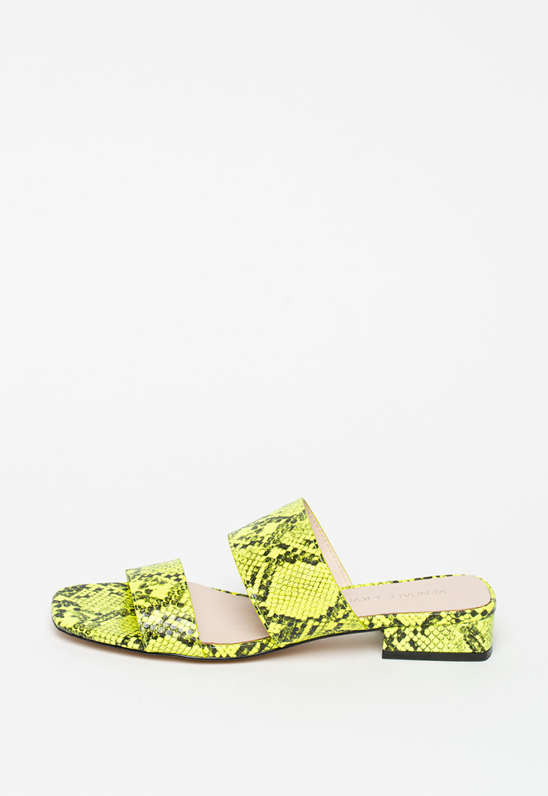 Papuci cu toc si aspect de piele de sarpe Kahlie