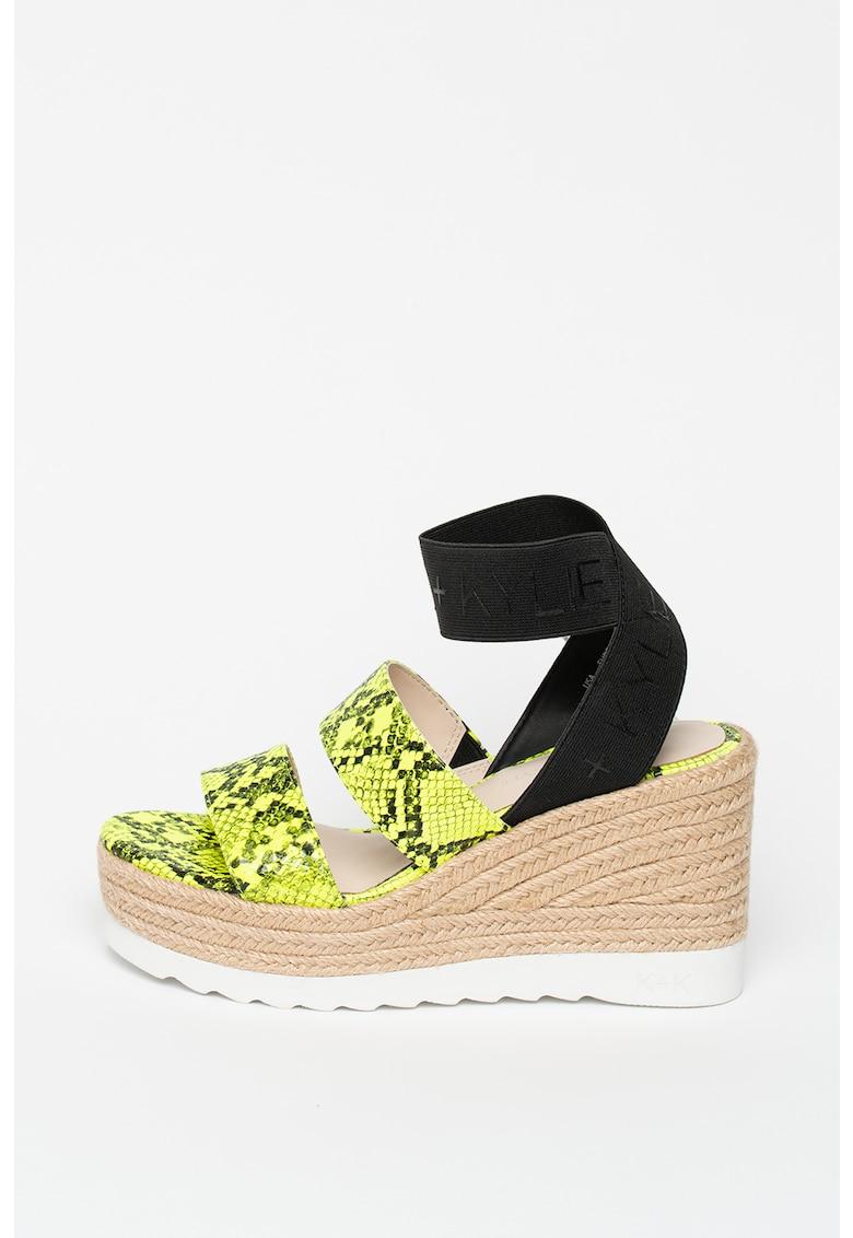 Sandale din piele ecologica cu garnituri cu aspect de piele de sarpe Prim