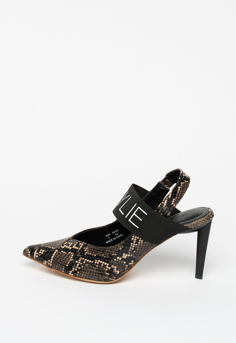 Pantofi slingback din piele ecologica cu imprimeu piele de reptila Zian