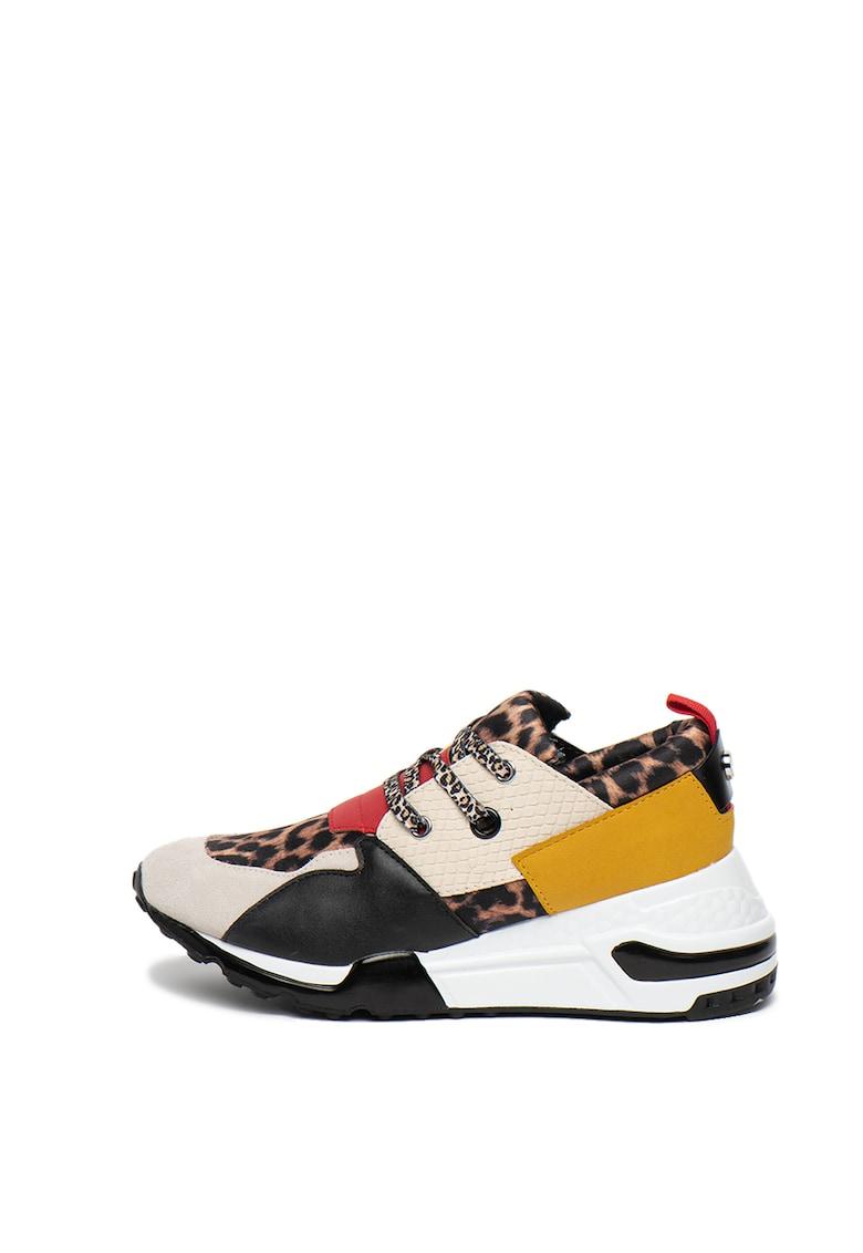 Pantofi sport wedge cu animal print Cliff