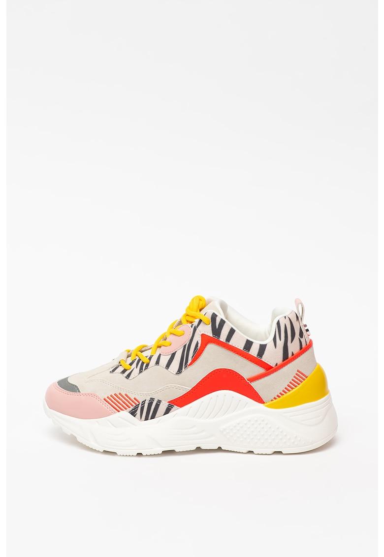 Pantofi sport cu talpa masiva si garnituri de piele intoarsa ecologica Antonia imagine