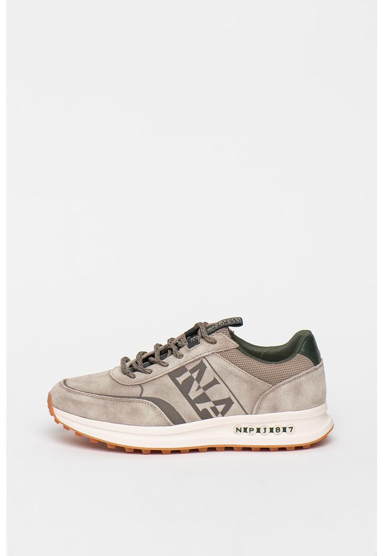 Pantofi sport din piele intoarsa cu imprimeu logo Slate
