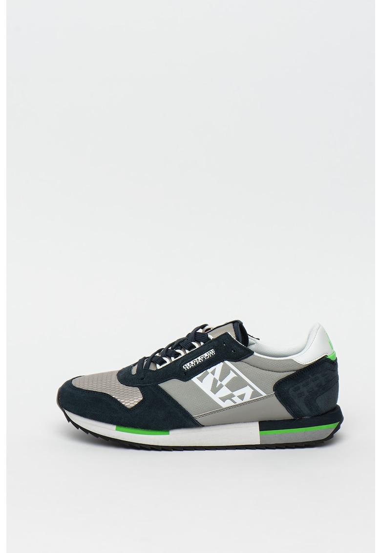 Pantofi sport cu insertii din piele si piele intoarsa Lake 2