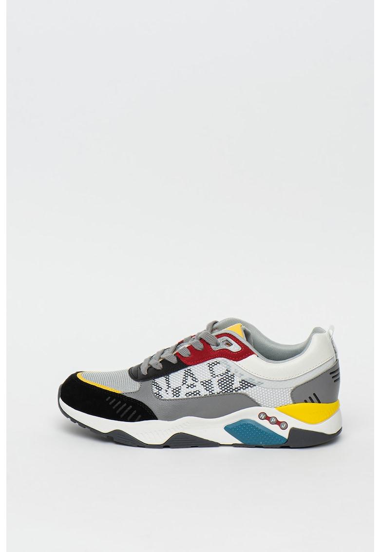 Pantofi sport de piele si piele ecologica - cu logo metalic Chaymon 2