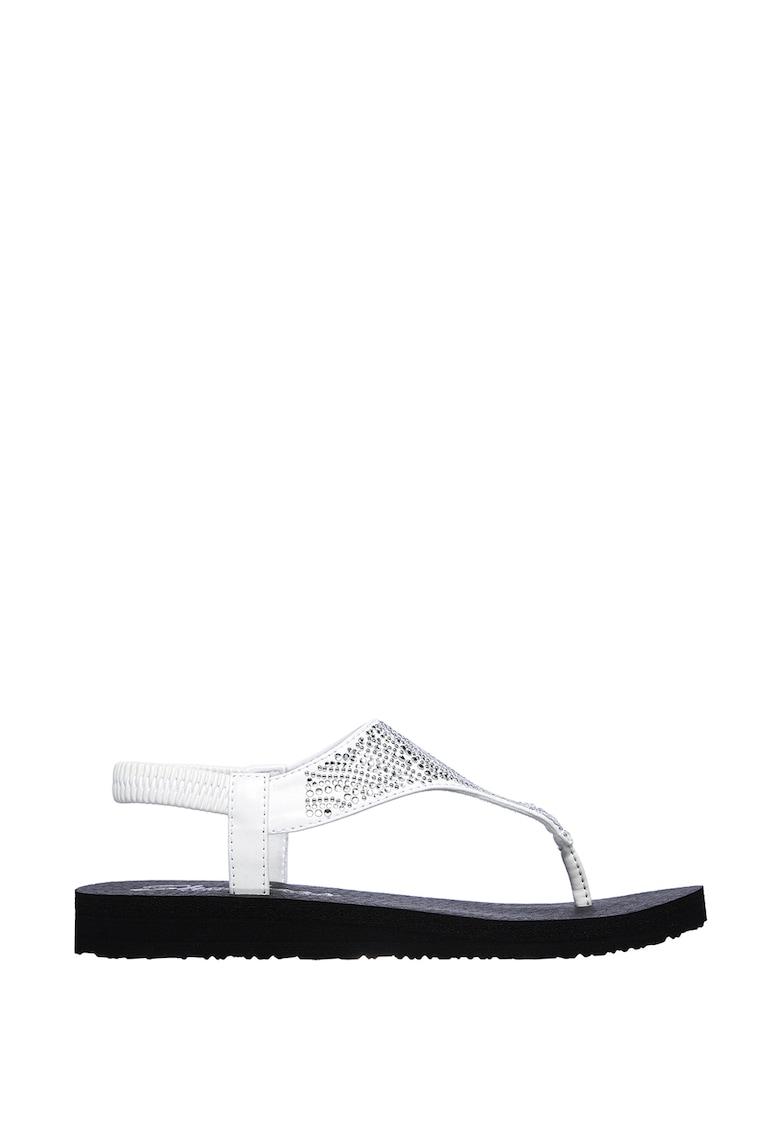 Sandale cu bareta separatoare si aplicatii cu strasuri Meditation-New Moon imagine fashiondays.ro