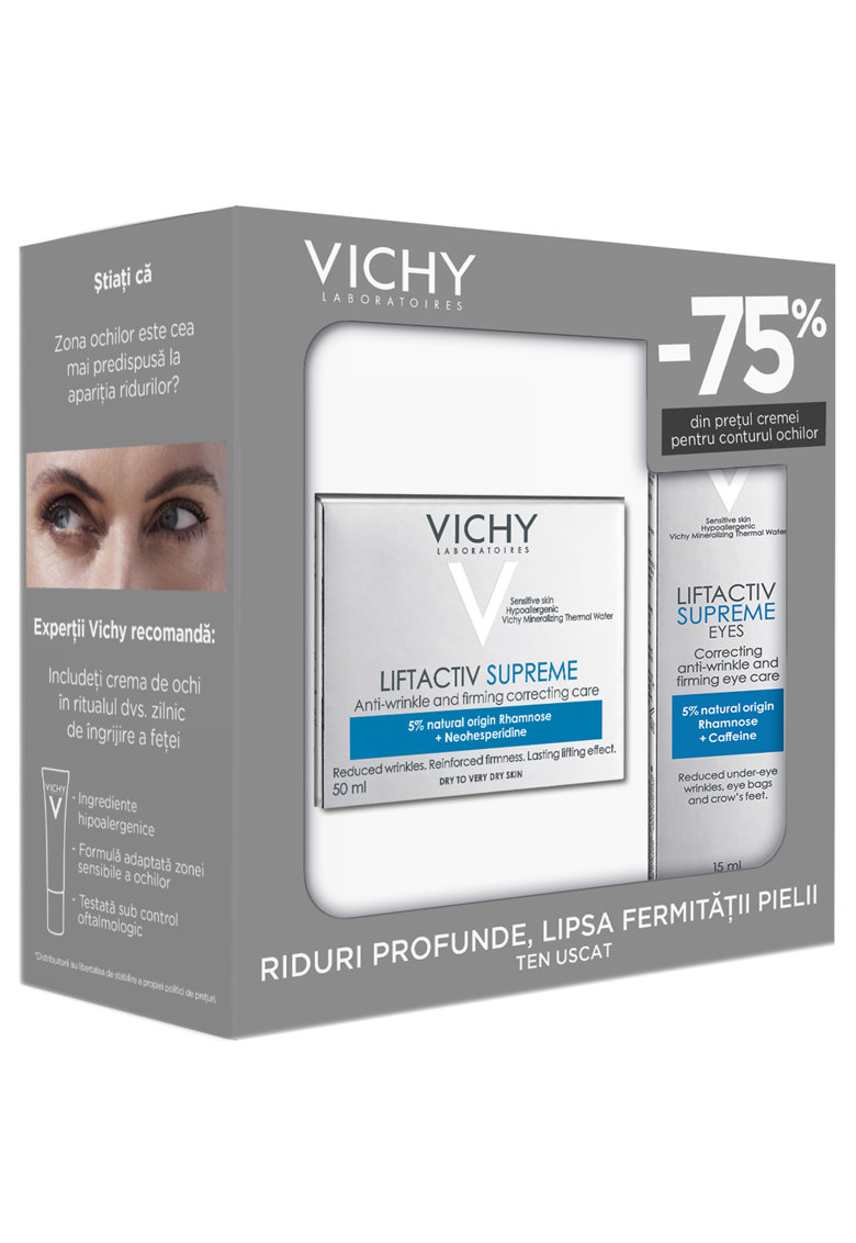 Trusa Liftactiv Supreme antirid si fermitate pentru ten uscat: Crema de zi - 50 ml + Crema contur ochi - 15 ml thumbnail