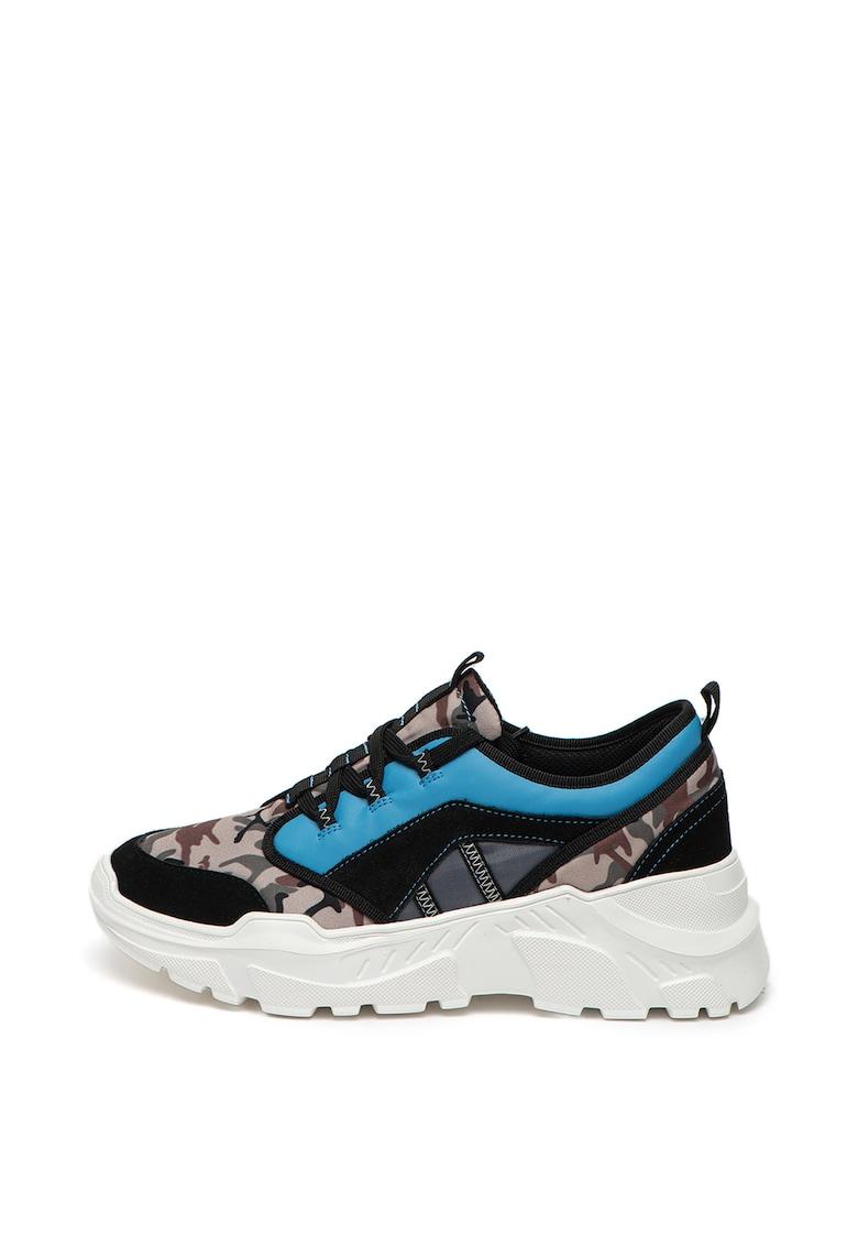Pantofi sport cu aspect masiv si insertii din piele imagine