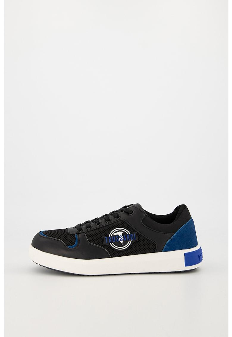 Pantofi sport din piele cu garnituri din plasa