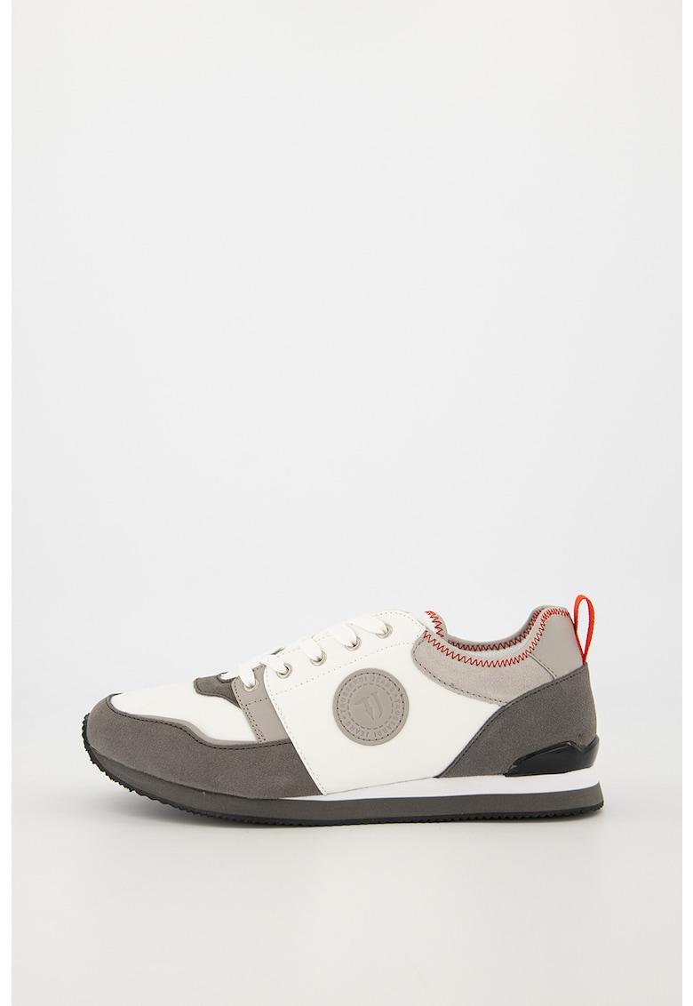 Pantofi sport din piele intoarsa si material textil