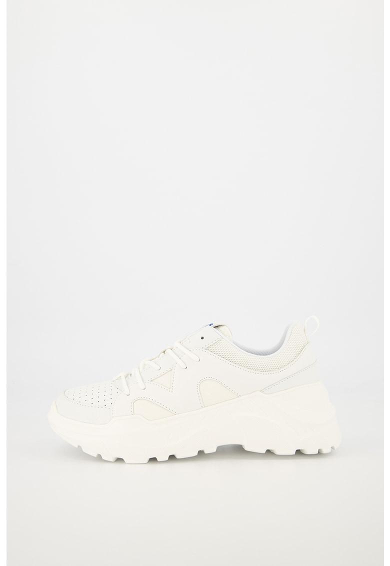 Pantofi sport din piele ecologica cu insertii din plasa
