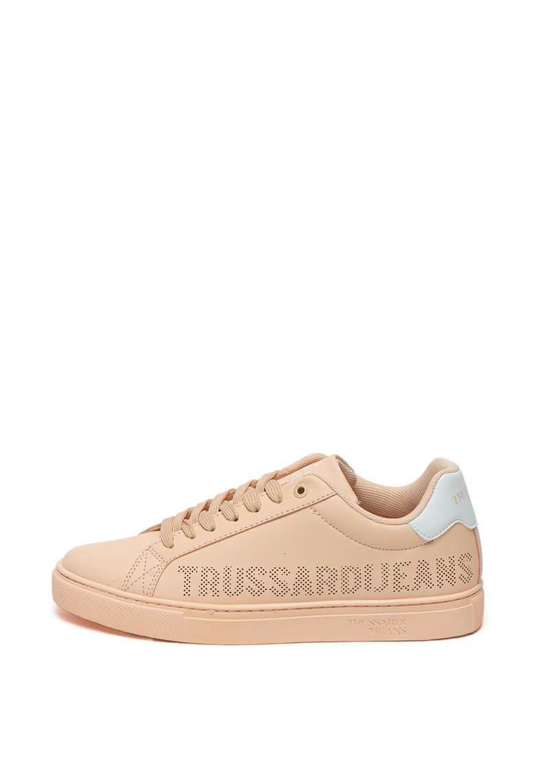 Pantofi sport din piele ecologica cu logo cu perforatii