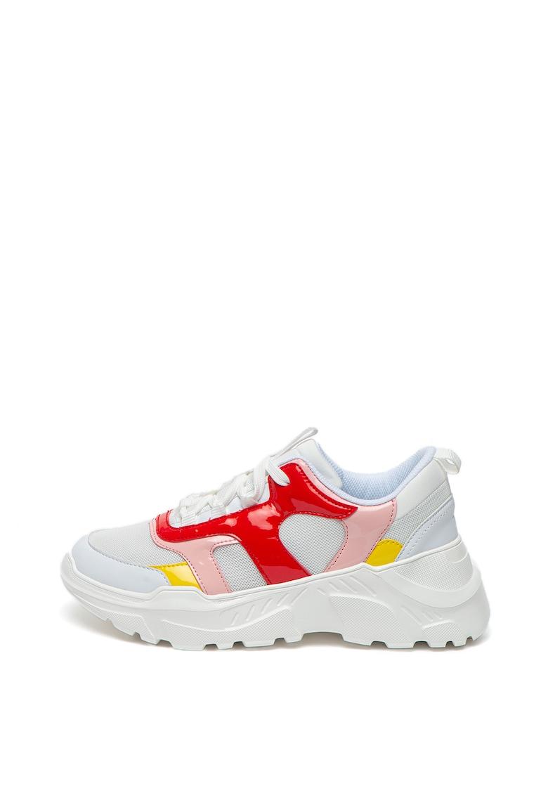 Pantofi sport wedge cu garnituri de piele ecologica imagine