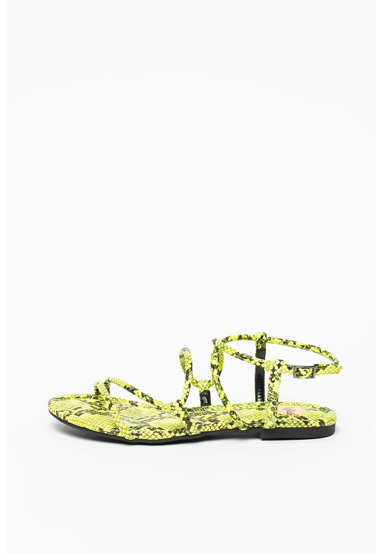 Sandale de piele ecologica - cu model piele de sarpe
