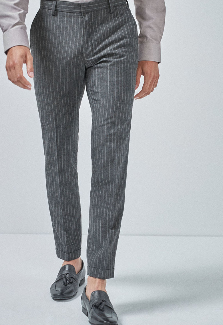 Pantaloni crop cu imprimeu cu dungi imagine