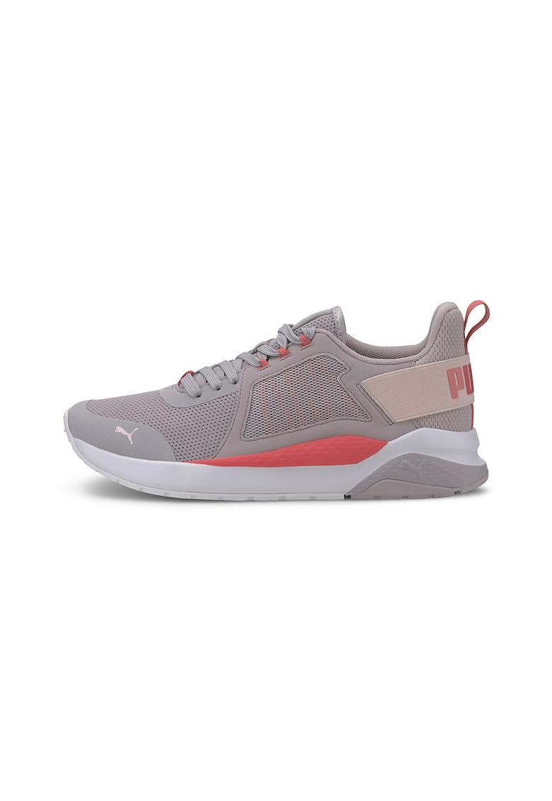 Pantofi sport din plasa cu banda elastica cu logo Anzarun