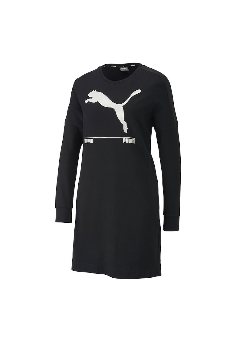 Rochie tip bluza sport cu imprimeu logo Nu-tility 3