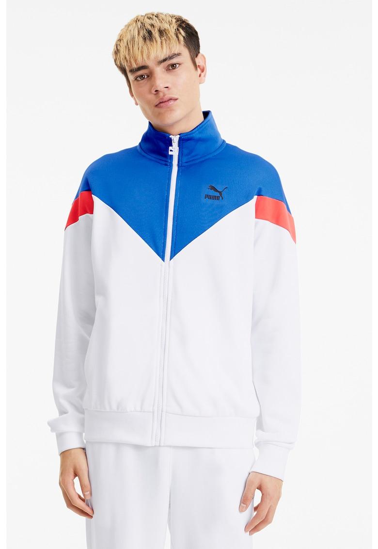 Bluza sport cu fermoar si model colorblock Iconic imagine fashiondays.ro