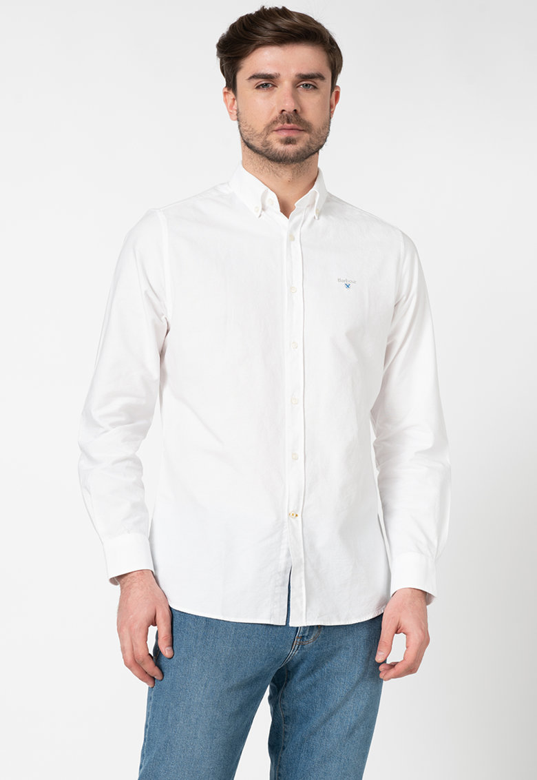 Camasa tailored fit cu broderie logo discreta Bărbați imagine