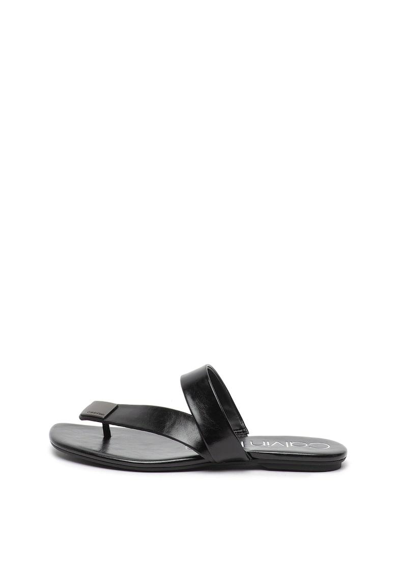 Papuci de piele ecologica cu bareta separatoare Saurin