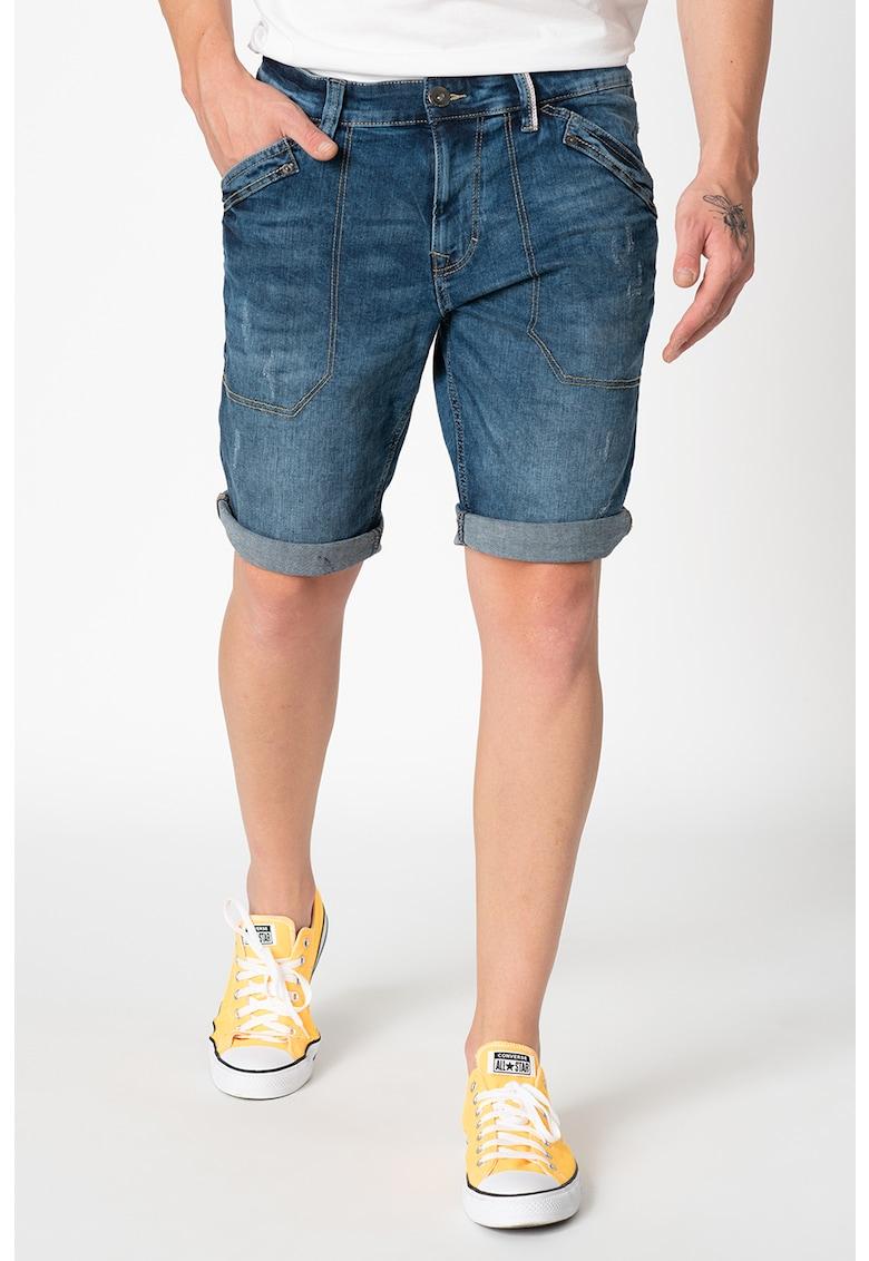Pantaloni scurti din denim cu cusaturi contrastante imagine