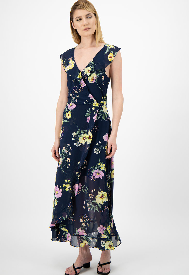 Rochie evazata cu imprimeu floral si volane