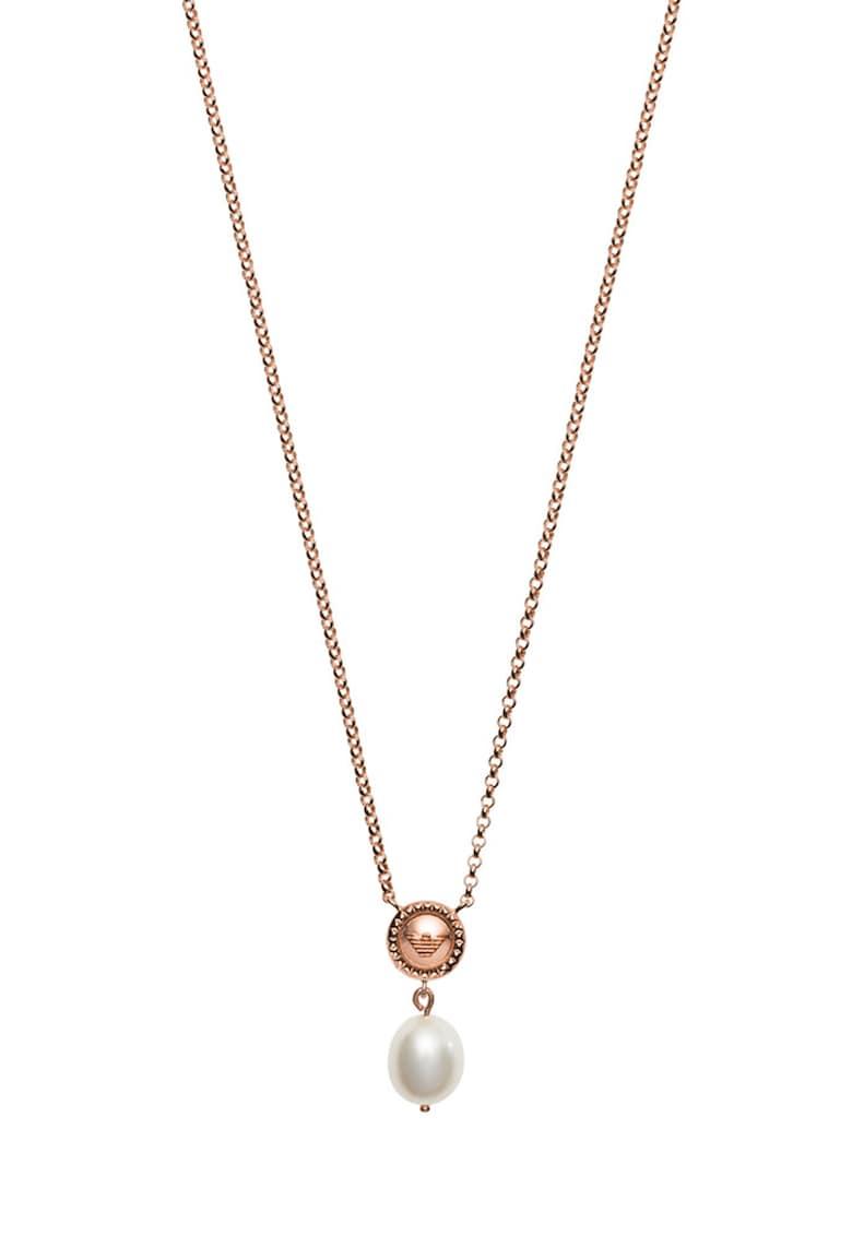 Colier de argint cu pandantiv cu perla de la Emporio Armani