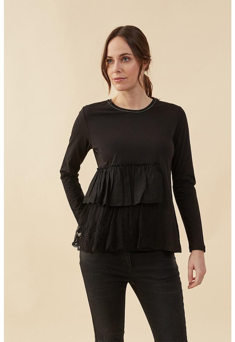 Bluza cu garnituri laterale cu volane imagine fashiondays.ro Oltre