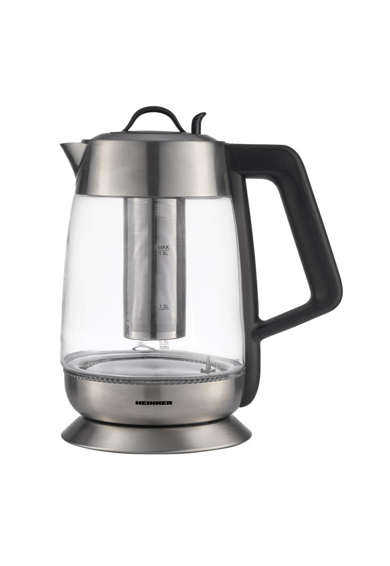 Fierbator cu filtru de ceai - 1.8 L - 5 setari temperatura - iluminare colorata - control touch - element inox - oprire automata - Inox/Sticla imagine fashiondays.ro