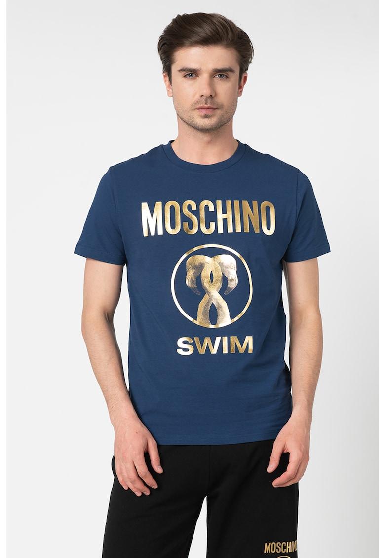 Tricou de plaja cu imprimeu logo metalizat