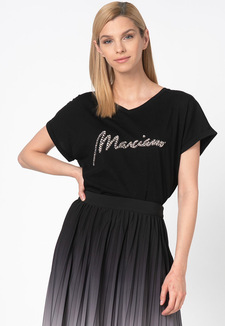 Tricou din amestec de modal - cu strasuri imagine fashiondays.ro GUESS BY MARCIANO