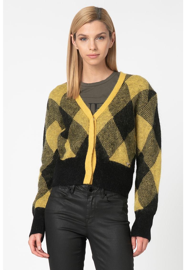 Cardigan din amestec de mohair si lana - cu model argyle