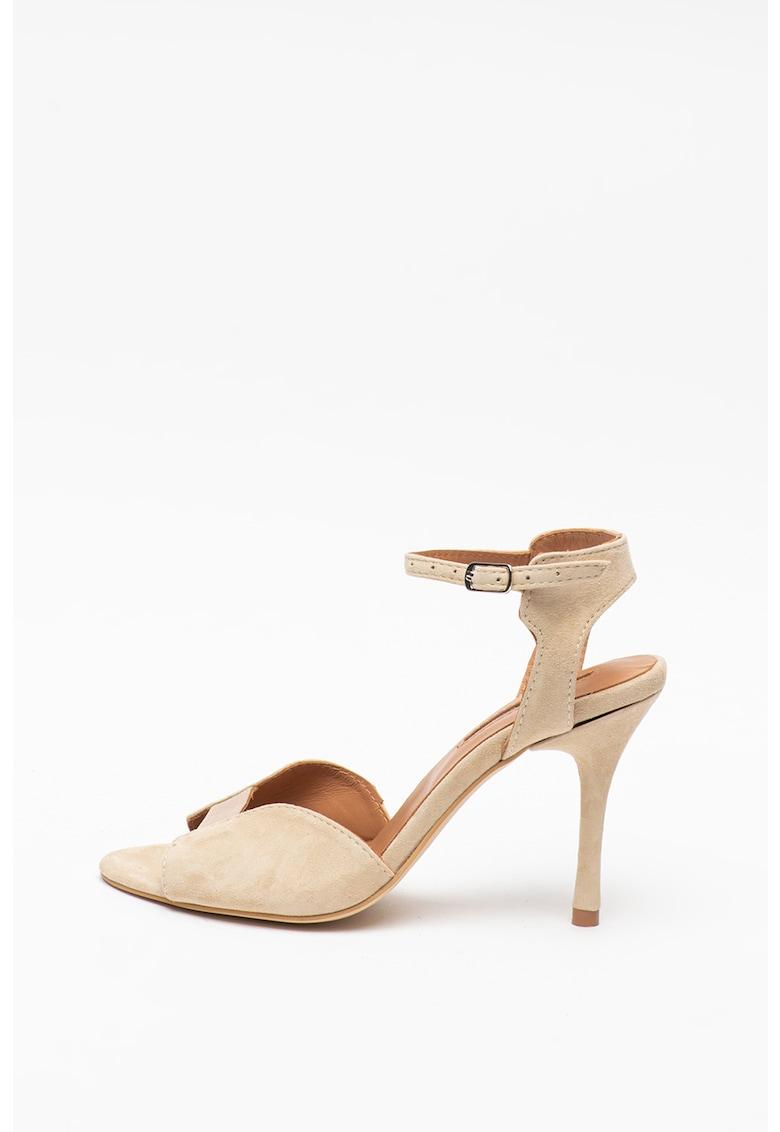 Sandale de piele intoarsa cu toc inalt