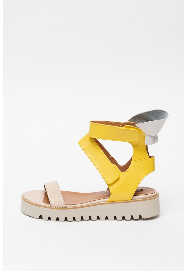 Sandale high-top de piele cu velcro