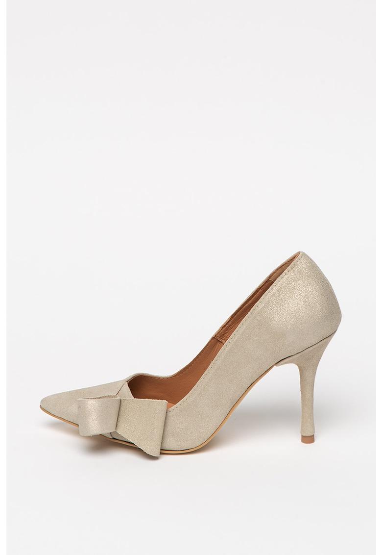 Pantofi de piele nabuc cu toc inalt