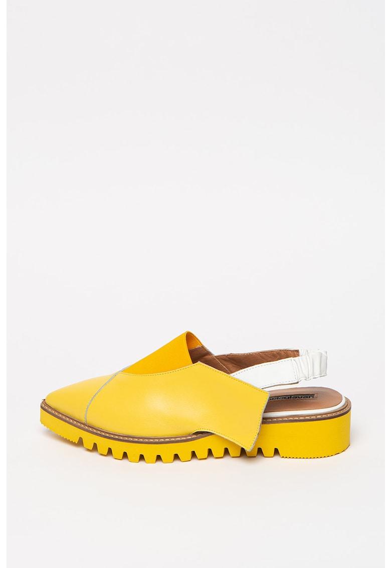 Pantofi slingback de piele cu varf ascutit