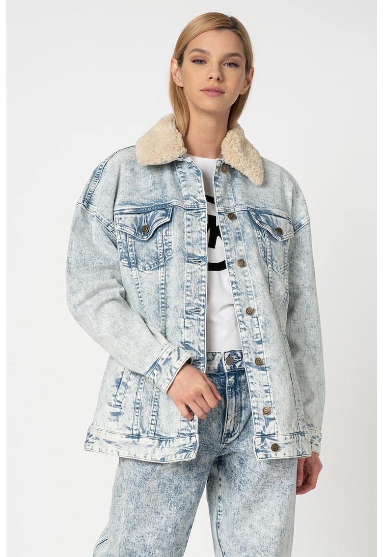 Jacheta din denim cu guler din material teddy