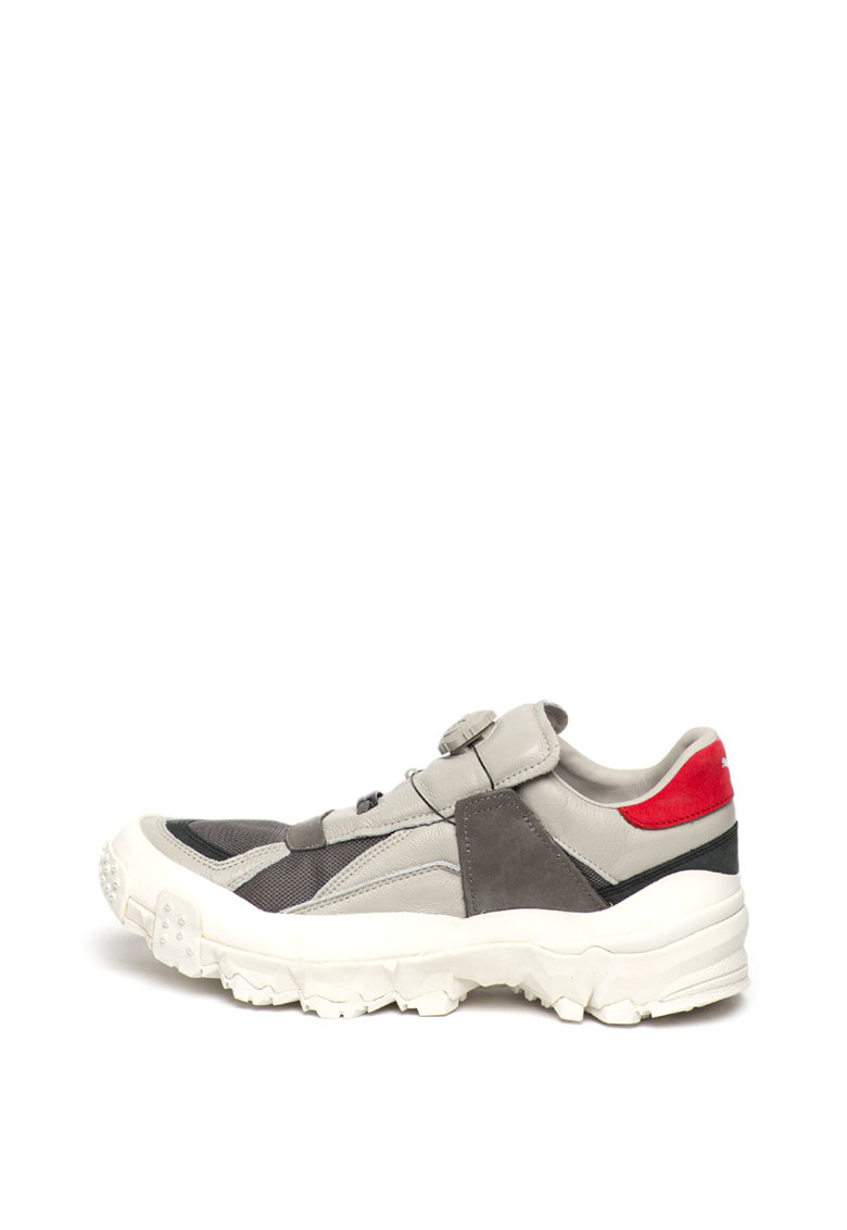 Pantofi sport cu model colorblock si garnituri de plasa si piele nabuc Trailfox Disc