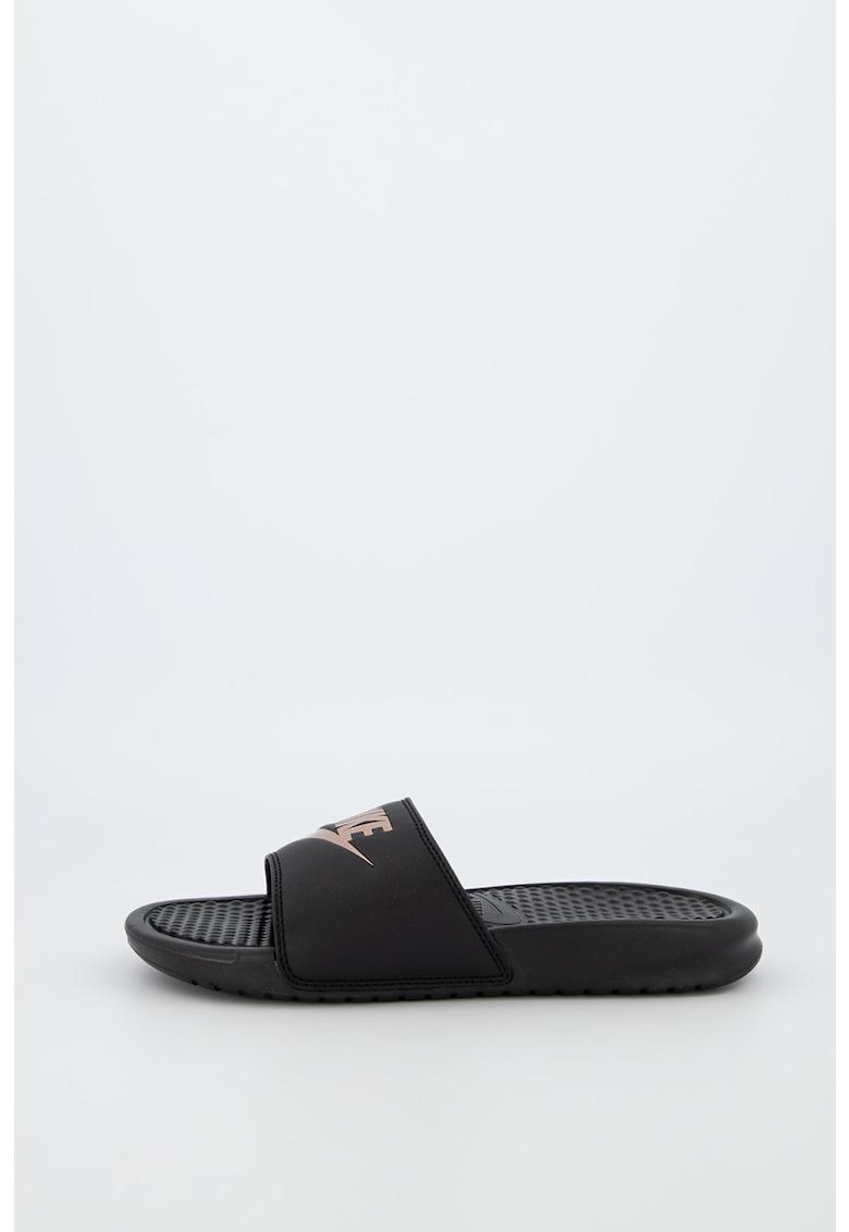 Papuci din piele ecologica cu brant texturat Benassi JDI