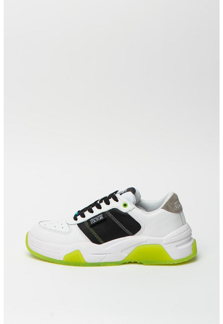 Pantofi sport de piele cu insertii de piele intoarsa